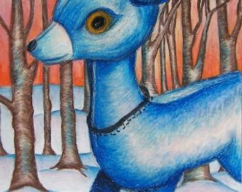 Little Blue Deer - Sketchbook Page