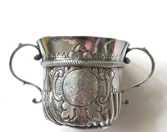 1716 George I London Britannia Silver Porringer or Caudle Cup