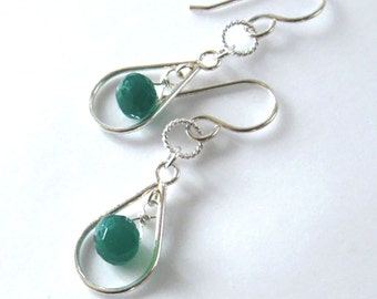 Emerald Green Onyx Gemstone Earrings Sterling Silver Open Tear Drop, St. Patrick's Day
