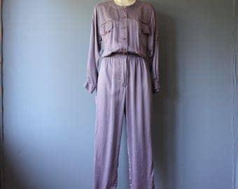 vintage silk 80s jumpsuit / lavender loose fit one piece / purple silk jumpsuit / medium