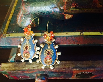Smoulder - golden Topaz, carnelian, mexican opal quartz and clay floral Earrings