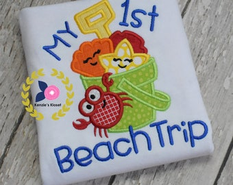 Crab monogrammed shirt - Crab appliques - Beach t-shirt - Monogrammed shirts - Personalized children's shirts - Toddler -