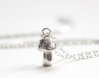 Toadstool Necklace, Festive Necklace, Handmade Sterling Silver Necklace, Gift for her, uk