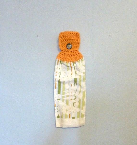 Hanging Kitchen Towel White Flowers Light Orange Olive Green Light Blue