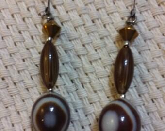 Brown and White Vintage Resin Bead Earrings