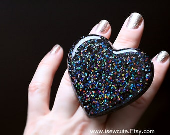 Resin Jewelry, Resin Ring, Black Noir Resin Glitter Heart , Anti-Valentine Dark Heart, Goth High Fashion Big Bling Bijoux Ring by isewcute