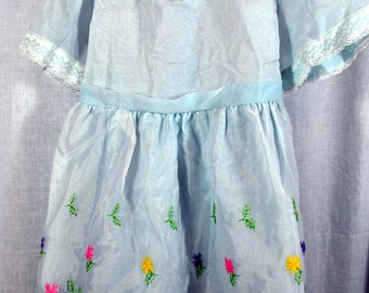 Vintage Girl's Light Blue Dress with Flower Embroidery - Pink, Purple, and Yellow - J. C. Penny - Size 6