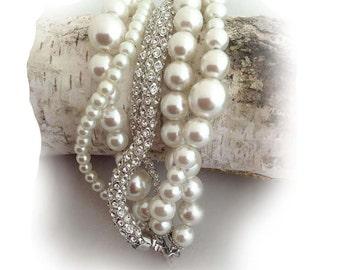 Ivory Pearl Bracelet,Layered Glass Pearl, Bridal Bracelet, Bridesmaid Gift Bracelet,