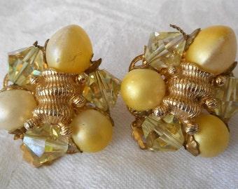 Vintage Yellow Glass Bead & Metal Beaded Costume Jewelry Clip Back Earrings