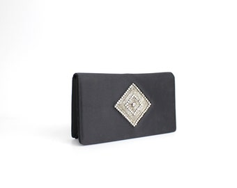 Vintage Diamanté and Black Satin Clutch Bag | Morris Moskowitz Evening Bag | Rhinestone Clutch