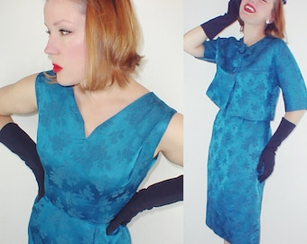 50s Cerulean Blue Silky Brocade Sheath Dress and Jacket by R & K - M