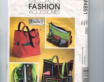 Craft Sewing Pattern McCalls M4851 Tote Bag Purse Grocery Bag