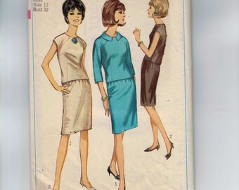 1960s Vintage Sewing Pattern Simplicity 6304 Misses Two Piece Dress Size 12 Bust 32 1965 60s