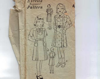 1930s Vintage Sewing Pattern Excella 5031 Girls Dress Pattern No Belt Unknown Size As Is 30s