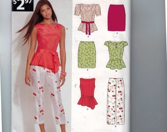 Misses Sewing Pattern New Look A6130 6130 Separates Capri Pants Pencil Skirt Peplum Top Size 8 10 12 14 16 18 Bust 34 36 38 40 42 44 UNCUT