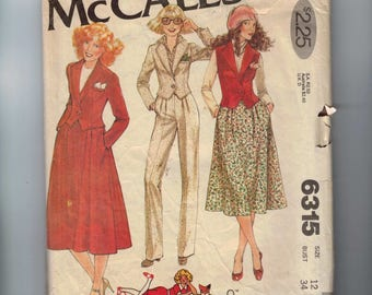 1970s Vintage Sewing Pattern McCalls 6315 Misses Annie Too Jacket Vest Skirt Pants Annie Hall Size 12 Bust 34 1978 70s