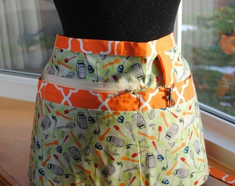 Handmade Vendor Apron Kitchen Tools Green Orange Mid Century Modern Utility Craft Farmers Market Teacher