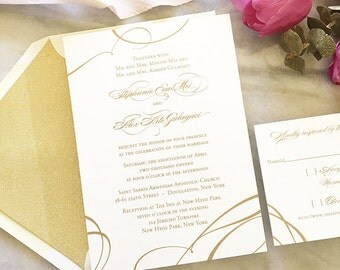 Formal Wedding Invitation - Gold Wedding Invite - Thermography