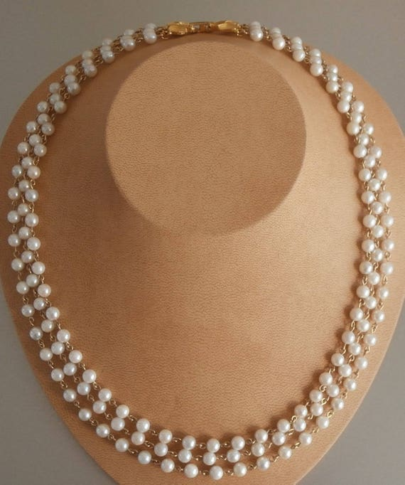 Natural Saltwater Pearl Necklace: Triple Stand Natural Saltwater Akoya Pearl Necklace 5 MM Size