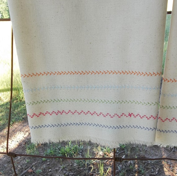 Farmhouse Kitchen Linens: Pair Farmhouse Kitchen Towels Natural Cotton Tea Towels 2