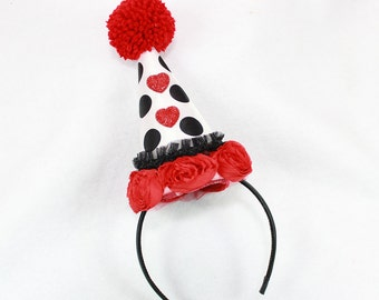 Mini Clown Hat, Halloween Costume, Red and White Circus Costume, Burlesque Headpiece, Birthday Party Hat, Valentine's Day, Kids or Adults