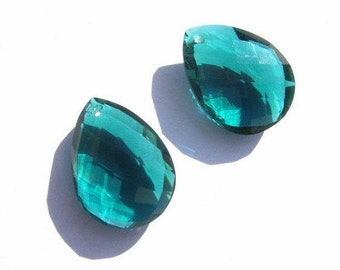 2 Pcs Matched Pair AAA Teal Green Quartz Front Drilled Faceted Pear Briolettes Large Size 21x16mm approx High Quality, Great Price