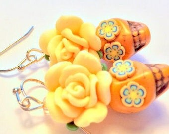Sugar Skull Earrings Day of the Dead Earrings Orange Dia De Los Muertos Earrings