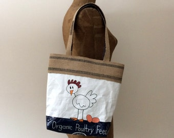 Upcycled Chicken Feed Bag Tote with Natural Jute Webbing Trim, Made in Maine