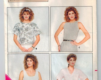 Vintage 80s Misses Pullover Summer Top Sewing Pattern Plus Size 18 20 22  Loose Fitting Shirts 4 Necklines Drop Shoulders Sleeve Variations