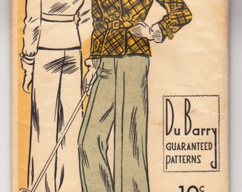 """Vintage Sewing Pattern 1930's Ski Coat and Trousers 40"""" Bust DuBarry 1309B - Free Pattern Grading E-book Included"""