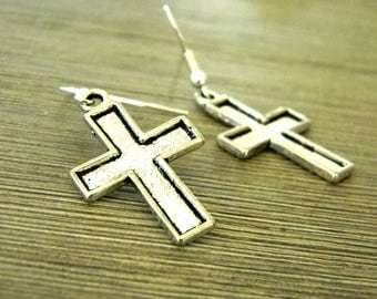 Cross Earrings Silver Color Dangle Earrings
