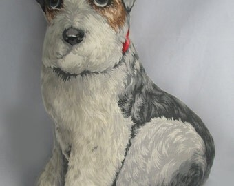 Vintage Toy Works Facsimile of 1892 Vintage Arnold Print Works Realistic Lithograph Print Terrier Dog Pillow Print  Pillow