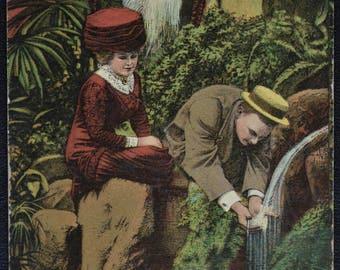 Comic Woman Man Fountain of Love Postcard 1912 Bright Colors