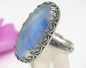 Rainbow Moonstone Ring - Large Sterling Silver oval Rainbow Moonstone ring - size 10 1/4 - rainbow moonstone ring with stars - size 10.25