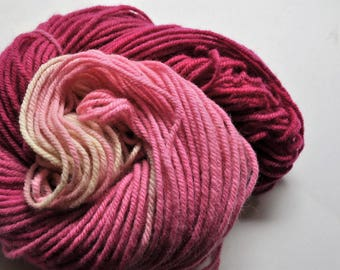 Blush.  Handpainted Ombre Style Wool Yarn 3 ply Aran Weight