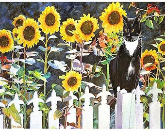 "13x19"" Tuxedo Cat, Fleur de Lis, Sunflowers, Picket Fence, Cat Art Print  ""Fleur de Lis Cat"" Signed and Numbered"
