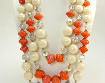 Hobe Triple Strand Orange & Pearl Bead Necklace