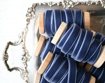 "Slate Blue Velvet Ribbon, Slate Velvet Ribbon, 3/8"" Velvet Ribbon, Velvet Ribbon Spool, 3 yards, Blue Velvet Ribbon, Slate Blue Wedding"
