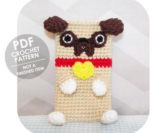 crochet pattern - smart phone sleeve - pug phone case - crochet phone sleeve - phone cozy - crochet phone cozy pattern - dog lovers