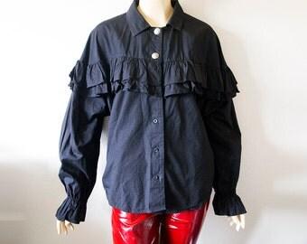 ROPER // Vintage 80s Ruffle Shirt Womens Medium Black Blouse Goth Deathrock 1980s Western Top New Wave Punk Clothing Strawberry Switchblade