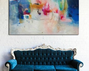 Abstract painting, acrylic painting, abstract art, wall art, home decor, canvas art, large painting, blue, wall decor, blue art, 46 x 36,