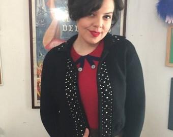 50s Rhinestone Sparkle Black Sweater - cardigan