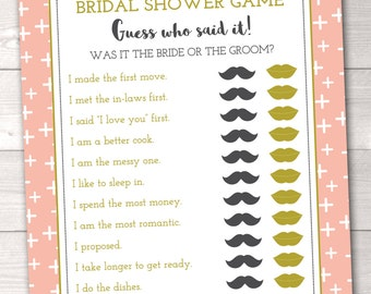 Guess Who Said It Printable Bridal Shower Game He Said She Said in Peach with Criss Cross Pattern