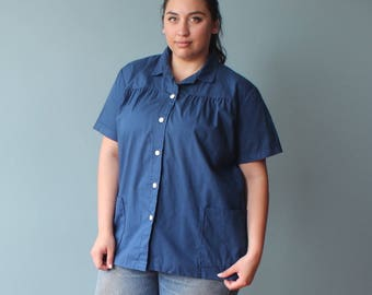 plus size blouse | short sleeve navy top with pockets | 1980s XXL