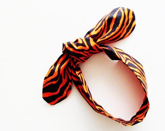 Orange & Black Tiger Head Scarf / Multipurpose Hair Accessory, Neck Tie, Handbag or Walker Adornment, Pet Neckerchief / Unique Gift Under 25