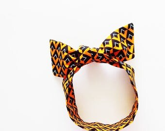 Orange, Black & White Diamonds Head Scarf /  Multipurpose Neck Tie, Handbag or Walker Adornment, Pet Neckerchief / Unique Gift Under 25
