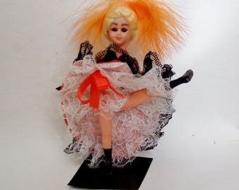 Kitsch  CanCan Dancer Doll- 1970s Vintage French Dancing Girl - Paris Souvenir Doll