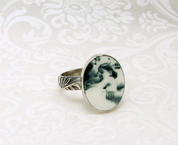 Custom ring with a clay photo tile set in sterling silver - C9Ri