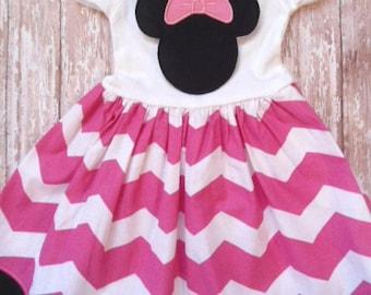 MINNIE MOUSE, disney dress, birthday minnie party dress, pink chevron, girls minnie mouse dress, first birthday party, minnie party dress