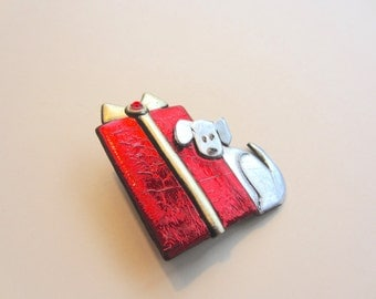 Dog with Red Christmas Present pin brooch